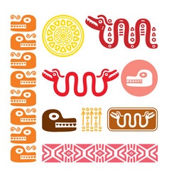 aztec animals mayan snake ancient mexican design vector image
