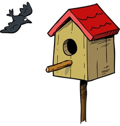 birdhouse with bird vector image vector image