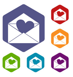 envelope with valentine heart icons set hexagon vector image