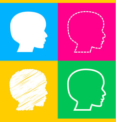 people head sign four styles of icon on four vector image