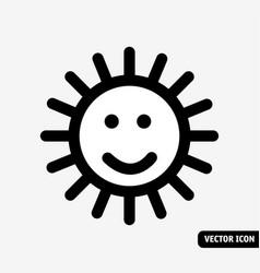 smile sun no fade symbol black and white icon vector image