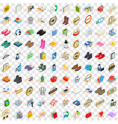 100 commercial icons set isometric 3d style vector