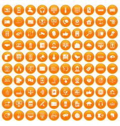100 communication icons set orange vector