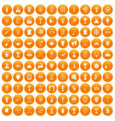 100 trophy and awards icons set orange vector image