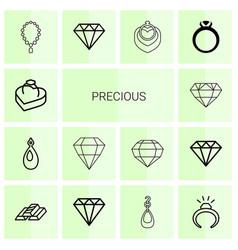 14 precious icons vector