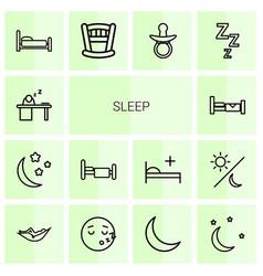 14 sleep icons vector