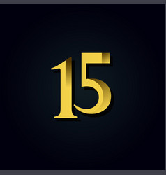 15 years anniversary gold number template design vector