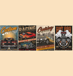 american custom cars vintage colorful posters vector image