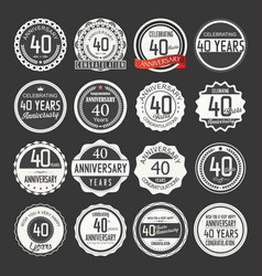 Anniversary retro labels 40 years collection 1 vector