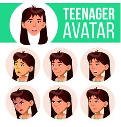 asian teen girl avatar set face emotions vector image
