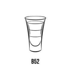 B 52 cocktail hand drawn vector