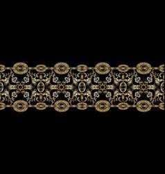 Baroque seamless border pattern black damask vector