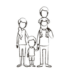Blurred silhouette caricature faceless family vector