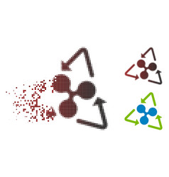 Broken dotted halftone ripple recycling icon vector