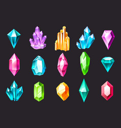 cartoon crystals colorful jewelry gems precious vector image