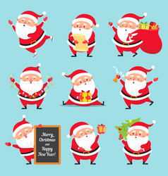 cartoon santa claus christmas holiday greeting vector image
