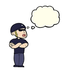 Cartoon security guard with thought bubble vector