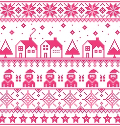 Christmas jumper or sweater pink seamless pattern vector image