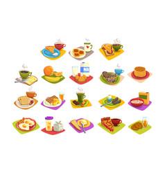 classic breakfast ideas set cartoon vector image