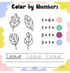 Color leaves numbers funny coloring game vector