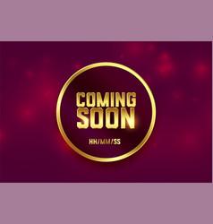 coming soon golden premium style background design vector image