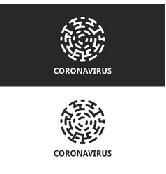 Coronavirus logo cell silhouette virus or vector