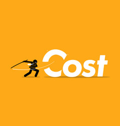 Cost cutting by businessman artwork depicts vector