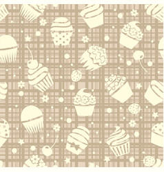 cupcake seamless pattern with cupcakes vector image