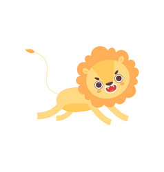 Cute angry lion running funny african animal vector