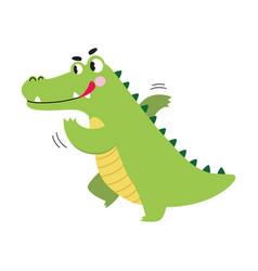 Cute crocodile running in hurry funny alligator vector