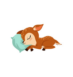 cute little fawn character slaaping on a pillow vector image