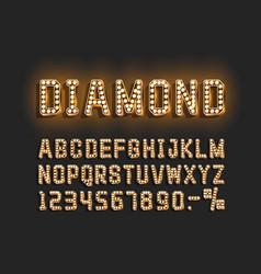 diamond golden font alphabet number sign vector image