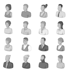 Different people icons set monochrome style vector