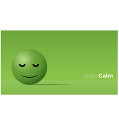 Emotional background with calm green face emoji vector