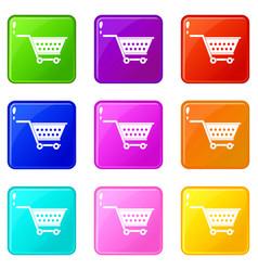 Empty supermarket cart icons 9 set vector