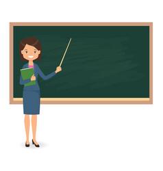 female teacher standing near blackboard vector image