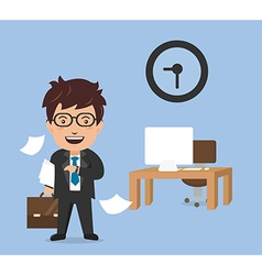 finished time businessman in hard working vector image