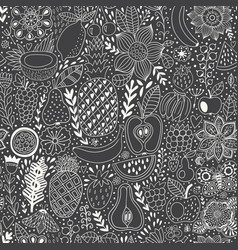 fruit doodles seamless pattern hand drawn vector image