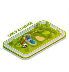 golf course isometric composition vector image
