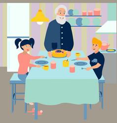 Grandpa prepares breakfast for grandchildren vector