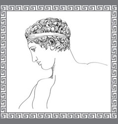 greek sculpture hand drawn sketch engraving mans vector image