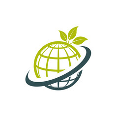green eco globe icon vector image