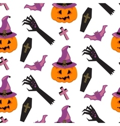 Halloween witch pumpkin seamless pattern vector image