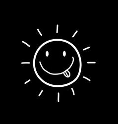hand drawn smiling sun with tongue out icon vector image