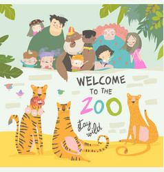 Happy children with parents in zoo with tigers vector