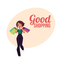 Happy shopping poster banner with girl woman vector