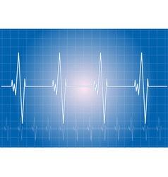heart rhythm on the blue display vector image