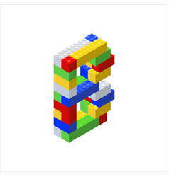 Isometric font made from color plastic blocks vector