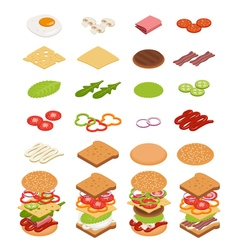 Isometric ingredients for burgers and sandwiches vector