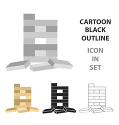 Jenga icon in cartoon style isolated on white vector